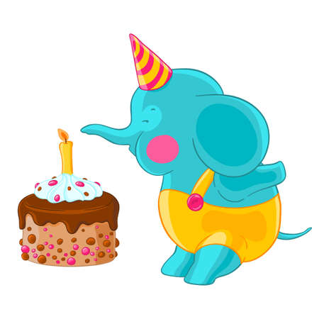 Cute baby elephant in hat and pants blow out the candle on the birthday cake.