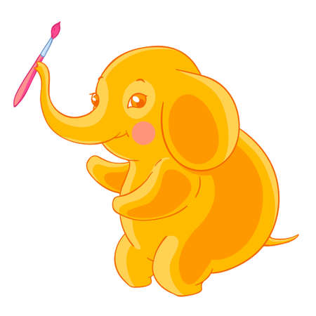 Thick cute orange elephant holds the brush in the trunk. Artist.