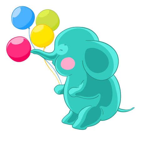 Cartoon green cute elephant trunk inflates balloons.