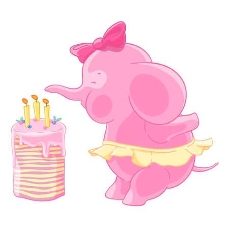 Jolie fille éléphant rose avec un arc et la jupe souffle des bougies sur un gâteau d'anniversaire. Fait un v?u