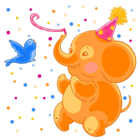 Festive joyful cute elephant and the bird are having fun. Birthday and confetti.