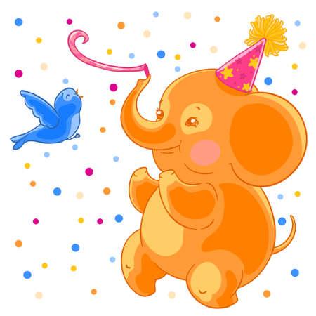 comely: Festive joyful cute elephant and the bird are having fun. Birthday and confetti.