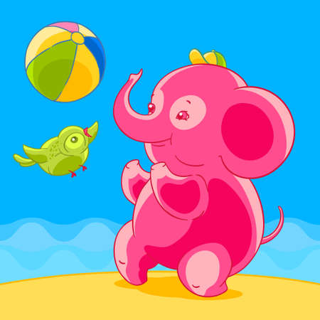 Pink elephant and bird in cartoon style playing ball on the sandy beach. Illustration