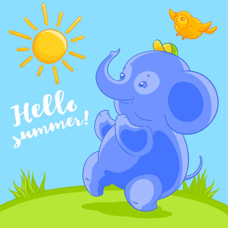 comely: Cute blue baby elephant and the pretty bird in cartoon style happy summer on the green lawn.