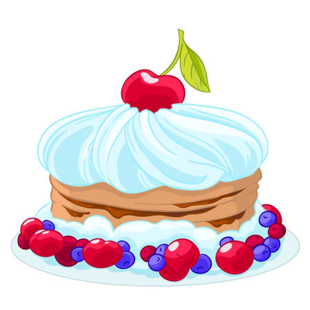 fruitcakes: Icon sweet cartoon cake with whipped cream, cherries, blueberries and berries. Treat for the birthday.