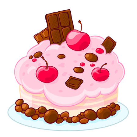 Icon cartoon delicious sponge cake with chocolate, jelly beans and cherries. Treat for the birthday. Illustration