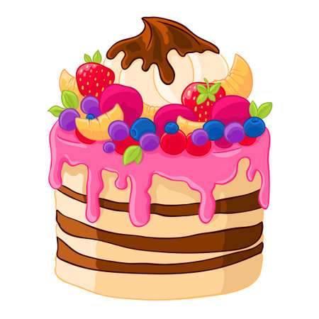 Icon cartoon sweet cake with strawberries, marshmallows,fruits and berries. Baking with citrus. Illustration