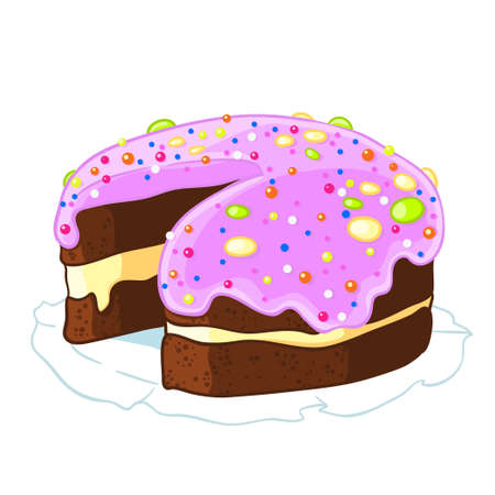Cartoon icon incised chocolate cake with blueberry frosting and sprinkles.