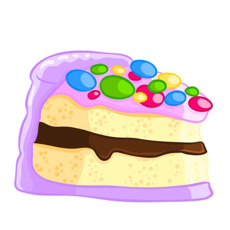 Cartoon icon of a piece of vanilla sponge cake with chocolate sauce and sprinkles.