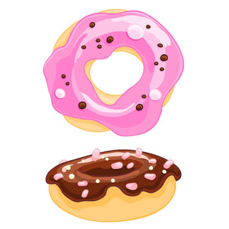 Two sweet cartoon icons donut with sprinkles, frosting and the marshmallow.