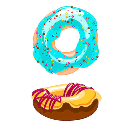 Two sweet cartoon icons donut with sprinkles, icing and watering jam.