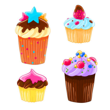 Set of four icons in a cartoon style, delicious muffins with the cream, chocolate and strawberry.