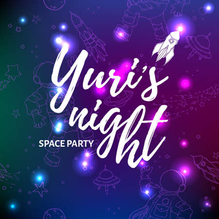 World space party card design. Yuris night banner or flyer. April 12 Cosmonautics Day.