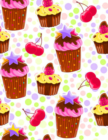 A Seamless decorative pattern with muffins and cherries in cartoon style. Polka dot background. Sweet pastry texture