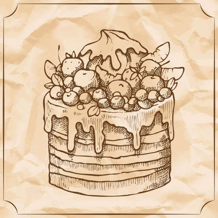 Sweet retro cake with fruit and berries. Treat for the birthday. Vector hand drawn illustration. T-shirt printing. Illustration