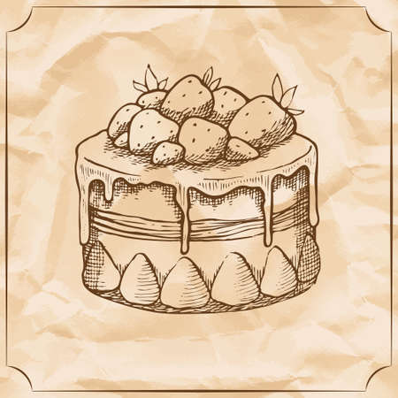 Sweet retro cake with strawberries. Treat for the birthday. Vector hand drawn illustration. T-shirt printing.