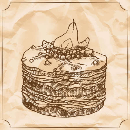Sweet retro cake with pear and berries. Treat for the birthday. Vector hand drawn illustration. T-shirt printing. Old paper background Illustration