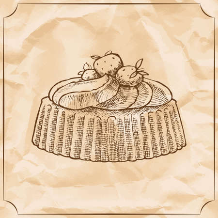Sweet retro cake with strawberries and wipped cream. Treat for the birthday. Vector hand drawn illustration. T-shirt printing. Old paper background