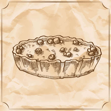 fruitcakes: Sweet retro pie with berries. Treat for the birthday. Vector hand drawn illustration. T-shirt printing. Old paper background Illustration