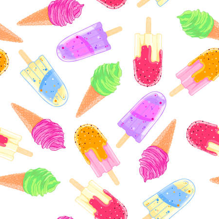 Seamless pattern with colorful ice cream cone and popsicle. Summer texture