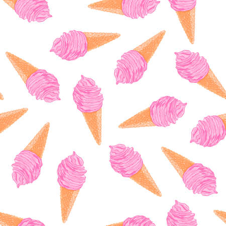 dressing: Cool summer seamless pattern with sketch berry ice cream cones.