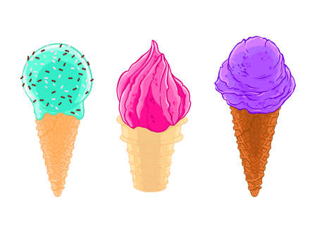 Cartoon sketch set of three ice cream cones with glaze, grit and waffle.