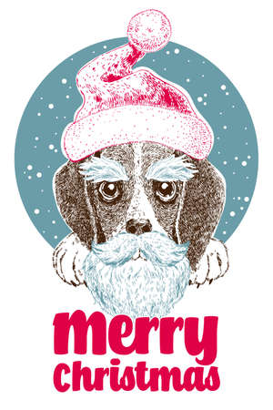 X-mas design greeting card with cute beagle puppy in santa cap, beard and moustache
