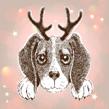Dog with reindeer horn icon.