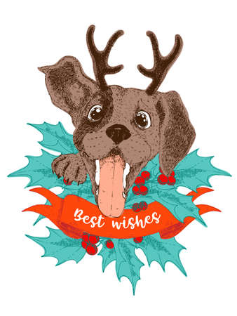 Merry Christmas greeting card. Happy beagle puppy with antler, holly brunches and berries. Illustration