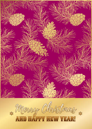 Template of holiday greeting card with golden pine lace on pink background. Merry Christmas and Happy New Year wishes.