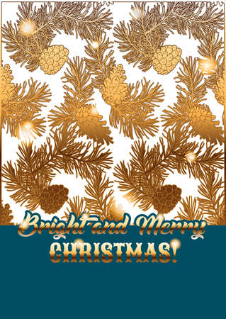 Template of holiday greeting card with golden pine lace. Bright and Merry Christmas wishes. Ilustração