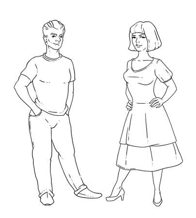 Vector illustration of a young married couple. A woman and a man smile and stand up. Linear black-and-white drawing.
