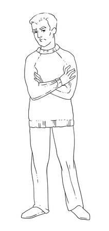 Vector illustration of a disgruntled man with arms crossed on his chest. Linear black-and-white drawing.