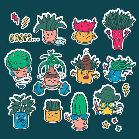 Set of kawaii cute Emoji flower pots stickers. Emotions of cartoon characters with a white outline. Isolated drawings. Embarrassment, anger, fear, love. Illustration