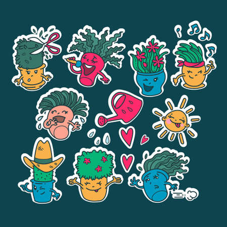 Set of kawaii cute Emoji flower pots stickers. Emotions of cartoon characters with a white outline. Isolated drawings. Pleasure, Hello, laughter, sunshine, cool.  イラスト・ベクター素材
