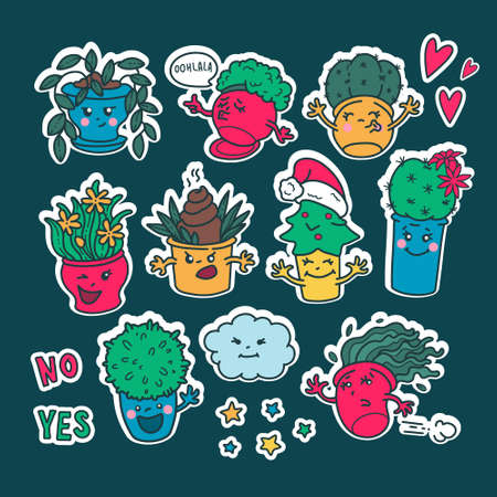 Set of kawaii cute Emoji flower pots stickers. Emotions of cartoon characters with a white outline. New year, Christmas, cloud, joy, fun, fear, love, smile. 向量圖像