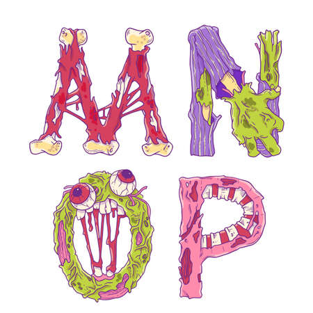 Scary zobmie cartoon letters for Halloween decor. Vector illustrarion isolated on white background. Dead alphabet.