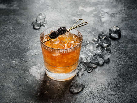 Old Fashioned Cocktail on gray background