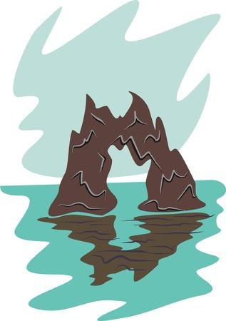 sea and rock Illustration