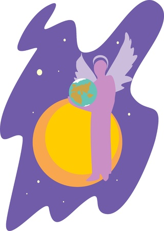 Angel world illustration  Vector