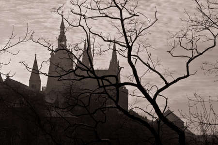 ceska: Prague, silhouette of high section of Prague castle.