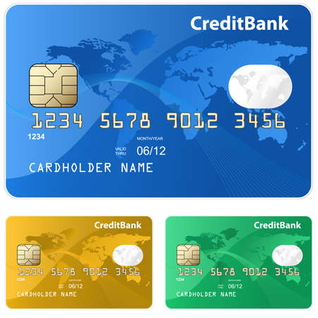 Colorful collection of credit cards. Highly detailed vector Vector