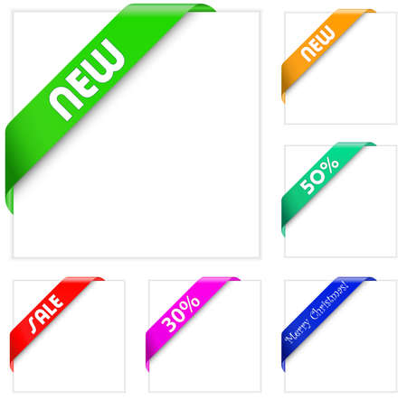 colorful collection of corner ribbons Vector