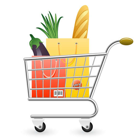 Vector illustration of shopping cart full of products Vector