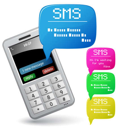 Modern mobile phone. Send and Receive SMS Messages Stock Vector - 5529437