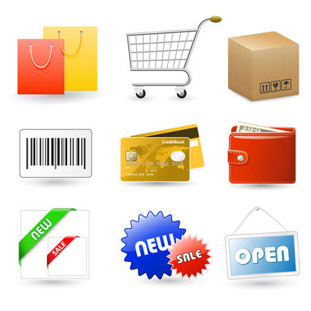 Shopping vector icons series. Transparent PNG version included. AI CS4 included. Stock Vector - 5529453