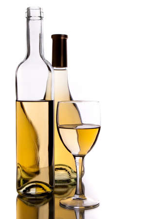 wine bottles and glass over white background Stock Photo - 5529489