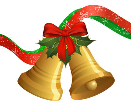 Christmas bells with holly and bow Vector
