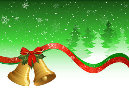 Christmas postcard with bells, holly, ribbons, trees and snow. Stock Vector - 5770746
