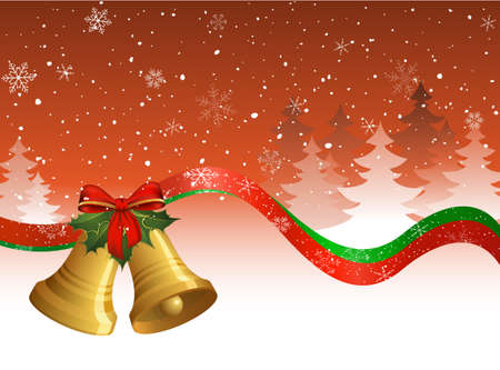 jingle bells: Red Christmas postcard with bells, holly, ribbons, trees and snow. Illustration